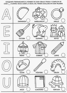 VOCALES Spanish Lessons For Kids, Teaching Spanish, Elementary Spanish, Interactive Learning, Kids Learning, Learning Colors, Spanish Worksheets, Free Preschool, Kids Education