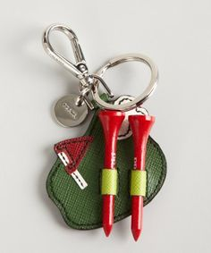 Prada : green and red saffiano leather golf tee keychain : style # 322733001