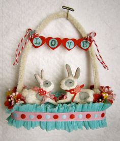 Spun Cotton Ornament  Valentine  My Bunny by MariePattersonStudio