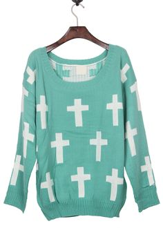 Green Round Neck and White Cross Pattern Jumper Sweater