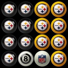 The Pittsburgh Steelers Billiard Ball Set makes Steelers Man Cave pool tables just that much more awesome!