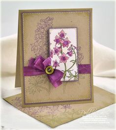 there are SEW many things to like about this card!  the kraft CS, and then the single purple color- stamped background and raised and colored accents with a beautiful bow!  (oh and a matching envelope!)