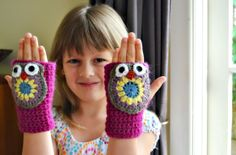 Crochet owl gloves free pattern