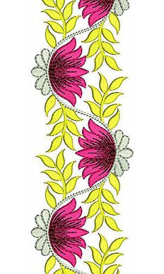 7846 Lace Design Border Embroidery Designs, Embroidery Suits Design, Hand Embroidery Stitches, Machine Embroidery Designs, Embroidery Patterns, Border Design, Lace Design, Saree Painting Designs, Folk Art Flowers