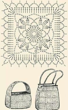 Schéma ou diagramme pour crochet Modèle pour sac en carré granny