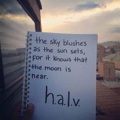 the Moon, just around the corner. @halv_writing . . . #halv #halvwrites #poem #poems #poetry #writing #writer #instapoem #sky #sunset #sunsets #letters #moon #coloredsky #poet #prose #creativewriting #muse #inspiration #poetsofinstagram #truth #spilledink #wordgasm