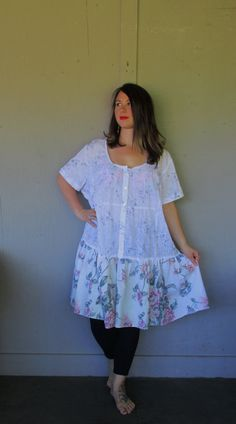 Upcycled dress/Romantic Bohemian upcycled dress/repurposed cowgirl tunic/Eco peasant dress/Tattered Artsy Hippie dress/plus size 1X-2X-3X
