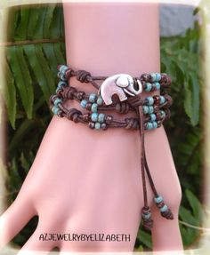 Elephant Wrap Bracelet Made With Seed Bead And Leather Cord, Beaded Wrap… - Bracelets Jewelry Beaded Leather Wraps, Leather Cord, Beaded Wrap Bracelets, Beaded Jewelry, Gold Bracelets, Diamond Earrings, Diy Collier, Elephant Bracelet, Elephant Jewelry