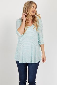 This top is a staple for the perfect casual day. It will not let you down. With its lightweight comfortable material and flattering v neck, this top will be your new go-to. Style with your favorite maternity jeans and sneakers for the best casual day look.