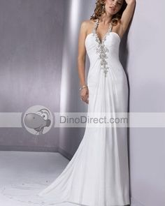 Wholesale Appique Beaded Halter V Neck Sweep Empire Bridal Gown Wedding Dress