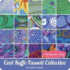 "Cool Kaffe Fassett Collective 10"" Squares Westminster Fibers #FB610GP-1COOL - Layer Cakes & 10"" Squares 