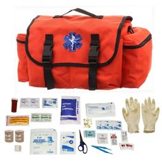 Ultimate Arms Gear Deluxe Orange Emergency Survival Rescue Bag Kit + First Aid Trauma Fully Stocked Kit Contents Come In Polybag, USA MADE