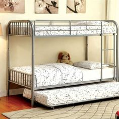 A Great Addition To Your Kid'S Bedroom! This Twin Bunk Bed Has A Lustrous Silver Color Finish. It Features Full Metal Construction With Non-Recycled Heavy Gauge Tubing, And Ensures Safety With Improved Rail Reinforcements. The Ladder On One Side M. Metal Bunk Beds, Full Bunk Beds, Bunk Beds With Stairs, Kids Bunk Beds, Twin Futon, Twin Twin, Sharing Bed, Silver Bedding, Bunk Bed Designs