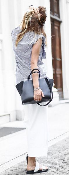 #summer #trendy #outfitideas Striped Top + Black And White
