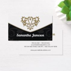 Simple Elegant Damask Motif I - White Orange Black Business Card - simple clear clean design style unique diy