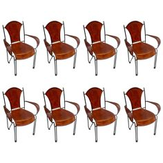 Set of Eight Continental Metal and Leather Chairs