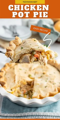 Comfort food like Easy Chicken Pot Pie is always a winner at our house. Dinner doesn't get any easier than this, with a ready-made pie crust and rotisserie chicken. This homestyle chicken pot pie recipe is super simple and perfect for a weeknight meal. PRINTABLE RECIPE at TidyMom.net