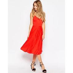 ASOS Cami Pleated Midi Dress ($46) ❤ liked on Polyvore featuring dresses, black, v neck dress, pleated midi dress, asos dresses, v neck camisole and calf length dresses