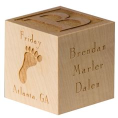 Personalized Baby Block Engraved Wooden Custom Alphabet Adoption Twins Newborn Nursery Decor Grandparent New Baby Block Etched Recycled Gift. $24.00, via Etsy.