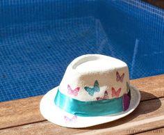 Customiza tu Sombrero con Decoupage - Diy  Personalized Beach Hat 2e435f3f660