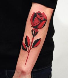 An enthralling flower sleeve tattoo. The sharp black and red sleeve tattoo design simply makes this design look mysterious and beautiful at the same time.
