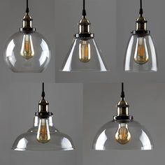 New Modern Vintage Industrial Retro Loft Glass Ceiling Lamp Shade Pendant Light Suspended Ceiling Lights, Ceiling Light Fittings, Industrial Ceiling Lights, Ceiling Lamp Shades, Industrial Light Fixtures, High Ceiling Lighting, Ceiling Canopy, Glass Pendant Shades, Glass Pendants