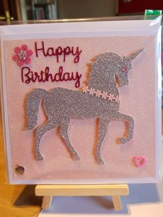 Unicorn Card - Intricut Die Unicorn Cards, Unicorn Birthday Cards, Kids Birthday Cards, Happy Birthday, Shelley Craft, Free Slime, General Crafts, Kids Cards, Handmade Cards