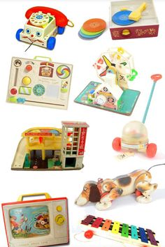 FISHER PRICE TOYS 70's & 80's:  Cara & Cayla had most of these. Cara loved her phone she got for her 1st Birthday and would talk and talk on it. Cayla Loved the puppy and at age 2 would take it for a walk every day when we would check the mail. Hers had a little shoe in it's mouth.