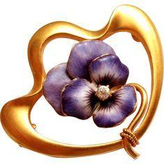 Rare 14K Gold KREMENTZ Art Nouveau Enamel Pansy w/ Diamond Pin / Brooch