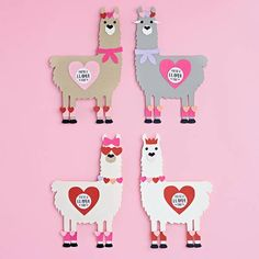Let your Valentine know they are a llama fun with this lovable llama kit! A great set for classroom Valentines! Kit includes: pre-cut shapes and printed stickers. Tools needed: glue stick, pen or marker and scissors. Kit makes: 24 valentines measuring app Valentines Day Food, My Funny Valentine, Homemade Valentines Day Cards, Valentine Crafts For Kids, Valentine Box, Valentine Ideas, Summer Crafts, Fall Crafts, Christmas Crafts