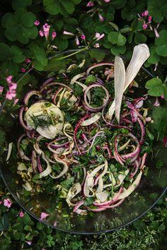 Roasted fennel salad with lentils  lemon vinaigrette