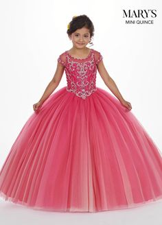 Floor length ombre-tulle ball gown with a sheer yoke, cap sleeves, and elaborately beaded bodice. The bodice features a back keyhole and a lace-up back closure. Girls Pageant Dresses, Girls Formal Dresses, Pageant Gowns, Little Girl Dresses, Bridal Dresses, Short Dresses, Flower Girl Dresses, Bridesmaid Gowns, Flower Girls