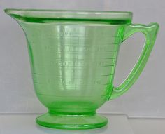 Vintage Green Depression Glass Measuring Cup Handimaid T s Made in USA 2 Cups | eBay