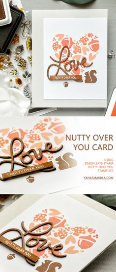 Simon Says Stamp | Nutty Over You - Acorn Valentine's Day Card by Yana Smakula. Love Card. Handmade Card. Stamped Squirrel & Acorn. Acorn Heart. Mushroom Heart