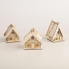 Laser-Cut Wood House Ornaments with Snow, Set of 3   World Market