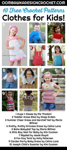 Clothes for Kids! 10 Free Crochet Patterns for Clothing for Boys and Girls! Find sweaters, dresses, tops and skirts! Great for gifts and practical too! #freepatterns #crochet #kidscrochet