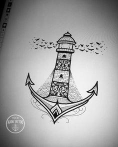 """Uma msma versão do desenho anterior , porém mais """"delicado"""" rsrs !! . . Arte também disponível. . Contato para orçamento e agendamento no tel 27 999805879 com Bruno de segunda a sexta de 8 as 18 hs . . #kadutattoo #tattoo #tattoos #ancor #houselights #delicate #farol #birds #sketch #rascunho #desenho #artedigital #procreateapp #ancora #apple #applepencil"""