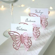 Butterfly Place Cards Black Set of 100 by Chaiv on Etsy Butterfly Place, Butterfly Baby Shower, Butterfly Party, Butterfly Birthday, Butterfly Wedding, First Birthday Parties, Birthday Party Themes, First Birthdays, Wedding Cards