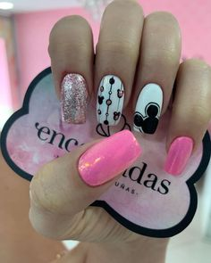 Christmas Nail Art Designs, Christmas Nails, Cute Nails, Pretty Nails, Nail Drawing, Pink Nail Art, Disney Nails, Luxury Nails, Best Acrylic Nails