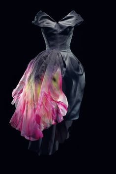 Hand-painted black organza dress, haute-couture Dior dress designed by John Galliano