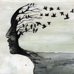 The tree within me Self portrait  Medium: Pen and water color