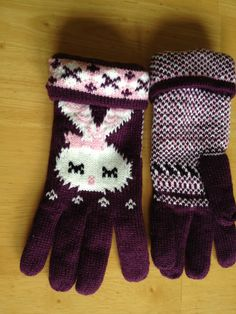 Purple and Pink and White Rabbit Design Gloves.