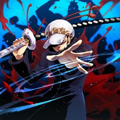 Trafalgar D. Water Law One piece art blue and red