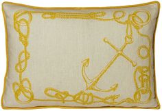 kevin o'brien knots linen pillow in yellow submarine
