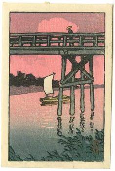 HASUI Japanese Woodblock Print Sunset Bridge 1930 | eBay