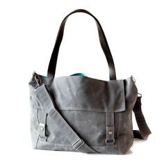Waxed Canvas Tote Letter Bag Gray and Teal