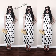 Women's Full Length Polka Dotty Black White Chiffon Maxi Gown Pleated Dress  #PoisonedLace #Maxi #onlineboutique