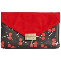 Inc International Concepts Zitah Foldover Clutch, ($52) ❤ liked on Polyvore featuring bags, handbags, clutches, cherry red, red handbags, red clutches, convertible handbag, fold over clutches and fold over purse