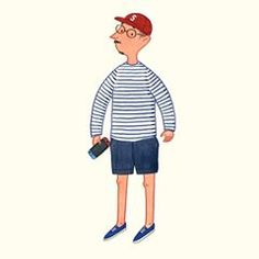 An old boy in Breton shirt #menswear #mensfashion #stripes #fashionillustration #slowboy