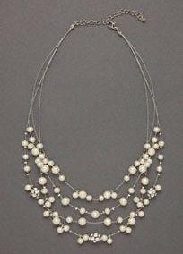 weddings - floating pearl necklace #bride collar de perlas novia